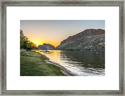 Canyon Lake Sunset Framed Print by Chuck Brown