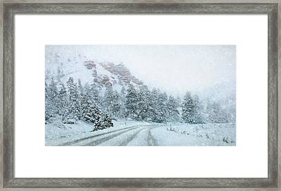 Canyon Snow Framed Print by Lori Deiter
