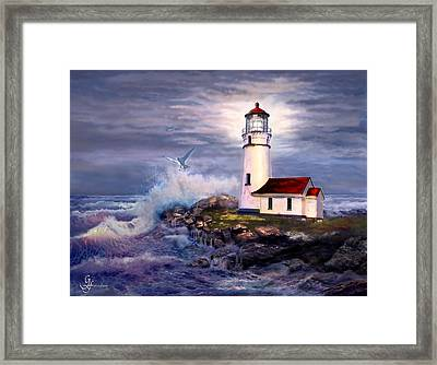 Cape Blanco  Lighthouse On Rocky Shores Framed Print by Gina Femrite