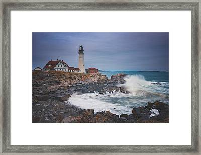 Cape Elizabeth Storm Framed Print by Darren White