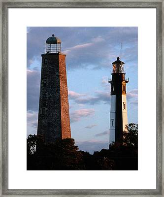 Cape Henry Lighthouses In Virginia Framed Print by Skip Willits