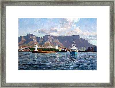 Cape Town Harbor Entrance Framed Print by Roelof Rossouw