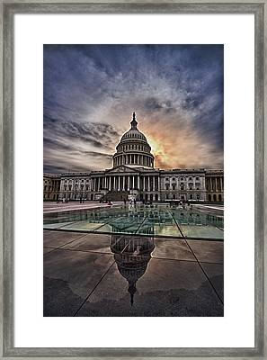 Capitol Building Against Setting Sun Framed Print by Val Black Russian Tourchin