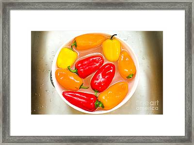 Capsicums Canvas Bell Peppers Prints Washing Vegetables Framed Print by Luca Lorenzelli