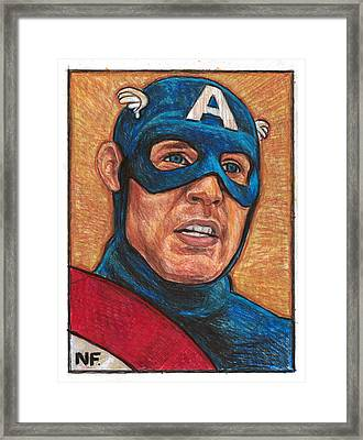 Captain America As Portrayed By Actor Chris Evans Framed Print by Neil Feigeles