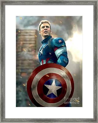Captain America - No Helmet Framed Print by Paul Tagliamonte