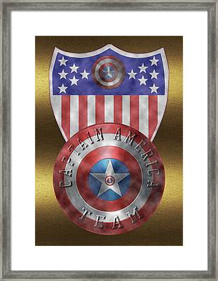 Captain America Shields On Gold  Framed Print by Georgeta Blanaru