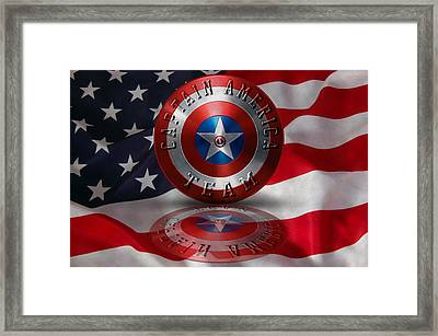 Captain America Team Typography On Captain America Shield  Framed Print by Georgeta Blanaru