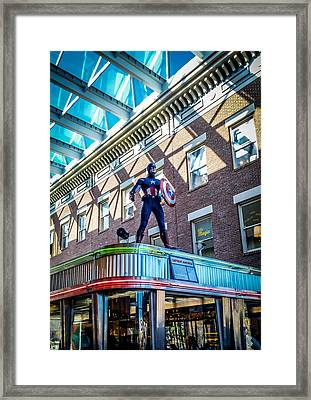 Captain America To The Rescue Framed Print by Carlos Ruiz