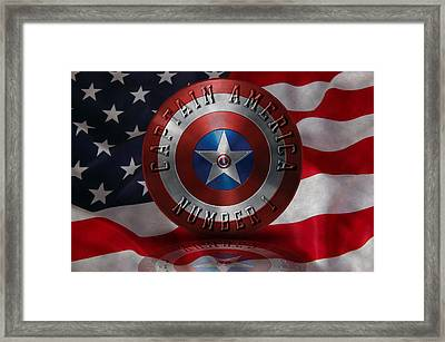Captain America Typography On Captain America Shield  Framed Print by Georgeta Blanaru