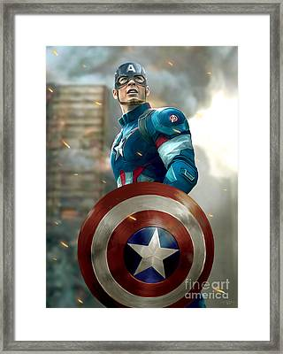 Captain America With Helmet Framed Print by Paul Tagliamonte