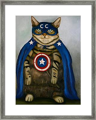 Captain Cat Super Hero Framed Print by Leah Saulnier The Painting Maniac