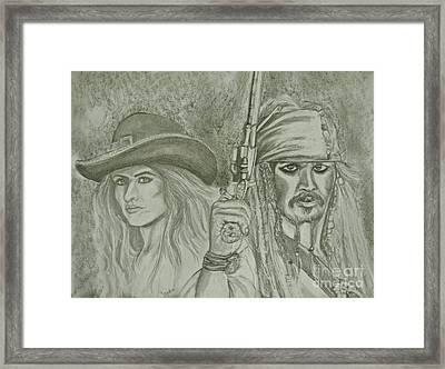 captain Jack Sparrow and Angelica Framed Print by Sandra Valentini