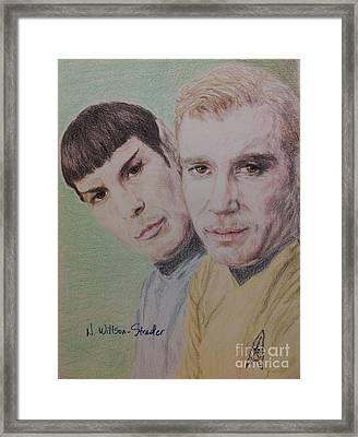 Captain Kirk And First Officer Spock Framed Print by N Willson-Strader