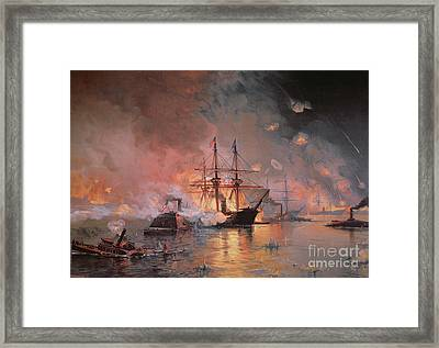 Capture Of New Orleans By Union Flag Officer David G Farragut Framed Print by Julian Oliver Davidson