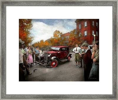 Car - Accident - Late For Tee Time 1932 Framed Print by Mike Savad