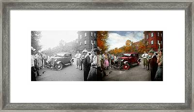 Car - Accident - Late For Tee Time 1932 - Side By Side Framed Print by Mike Savad