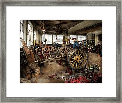 Car - Garage - Blue Collar Work 1923 Framed Print by Mike Savad