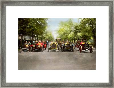 Car - Race - Hold On To Your Hats 1915 Framed Print by Mike Savad