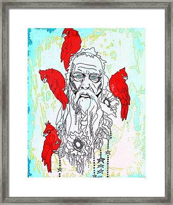 Cardinal Frost Framed Print by Amy Sorrell