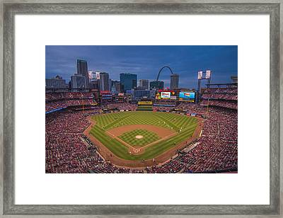 Cardinal Nation Busch Stadium St. Louis Cardinals Twilight 2015 Framed Print by David Haskett