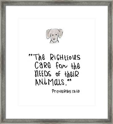 Care For Animals Framed Print by Nancy Ingersoll