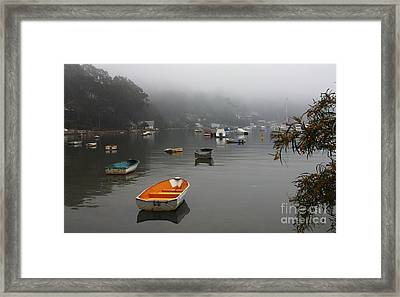 Careel Bay Mist Framed Print by Avalon Fine Art Photography