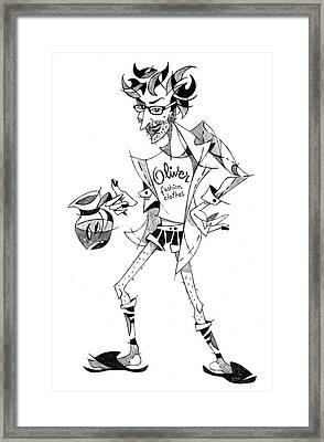 Caricatura Papiro Di Laurea - Funny Portrait Framed Print by Arte Venezia