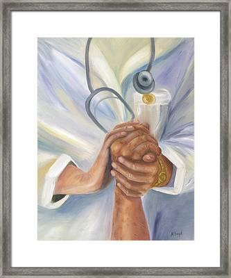 Caring A Tradition Of Nursing Framed Print by Marlyn Boyd