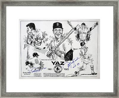 Carl Yastrzemski Retirement Tribute Newspaper Poster Framed Print by Dave Olsen