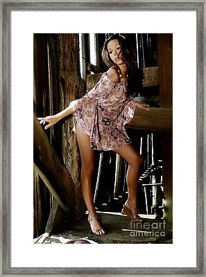 Carla's In The Barn Again Framed Print by Clayton Bruster