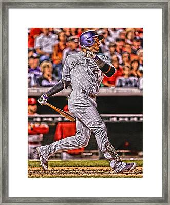 Carlos Gonzalez Colorado Rockies Art 2 Framed Print by Joe Hamilton