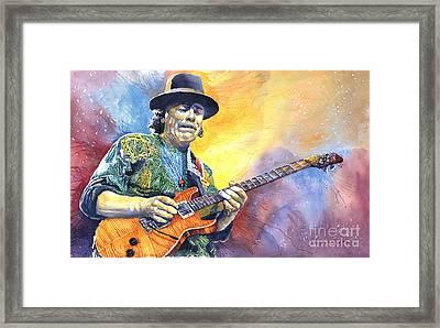 Carlos Santana Framed Print by Yuriy Shevchuk