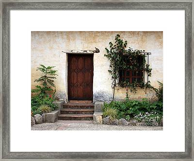 Carmel Mission Door Framed Print by Carol Groenen