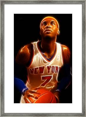 Carmelo Anthony - New York Nicks - Basketball - Mello Framed Print by Lee Dos Santos