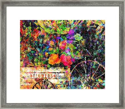 Carnival Of Flowers Abstract Realism Framed Print by Georgiana Romanovna