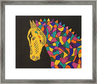 Carnival Stained Glass Tribal Horse Framed Print by Susie WEBER