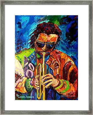 Carole Spandau Paints Miles Davis And Other Hot Jazz Portraits For You Framed Print by Carole Spandau