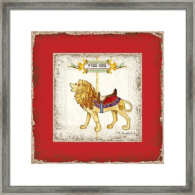 Carousel Dreams - Roaring Lion Framed Print by Audrey Jeanne Roberts