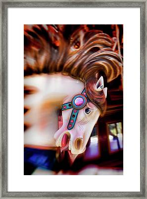 Carousel Horse Portrait Framed Print by Garry Gay