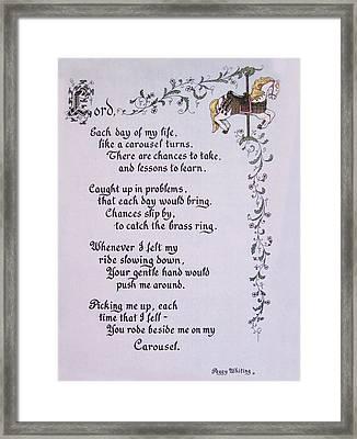 Carousel Poem Framed Print by Peg Whiting