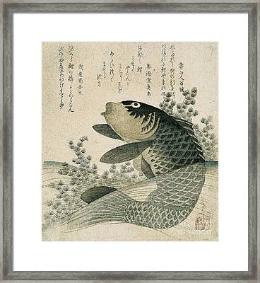 Carp Among Pond Plants Framed Print by Ryuryukyo Shinsai