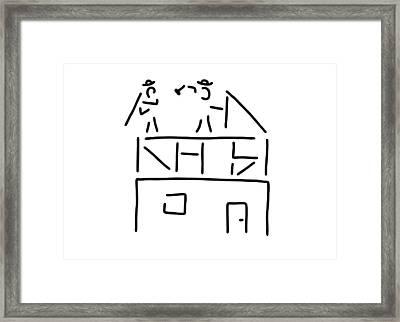Carpenter Carpenter Timber-frame Construction Framed Print by Lineamentum
