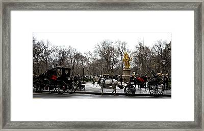 Carriage At The Grand Army Plaza Framed Print by John Rizzuto
