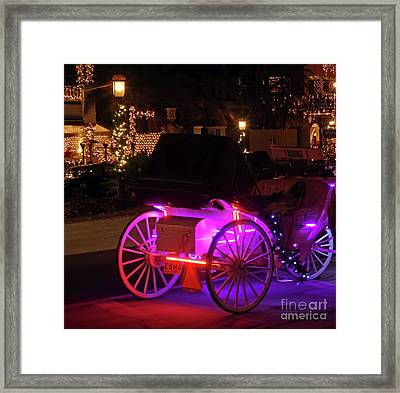 Carriage Ride Night Of Lights Framed Print by D Hackett