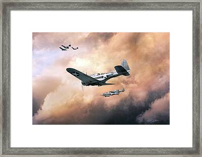Carrier Hunting Framed Print by Peter Chilelli