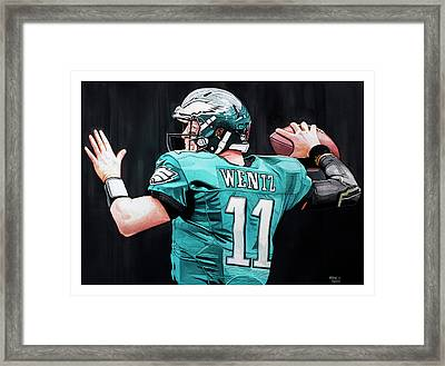 Carson Wentz Framed Print by Michael Pattison