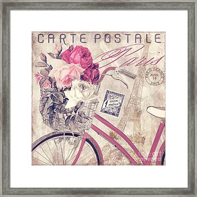 Carte Postale Bicycle Framed Print by Mindy Sommers