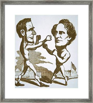 Cartoon Depicting Abraham Lincoln Squaring Up To Jefferson Davis Framed Print by American School
