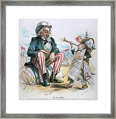 Cartoon: Uncle Sam, 1893 Framed Print by Granger